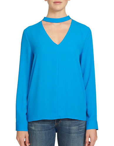1 State Game On Bar Neck Blouse-BLUE-Small