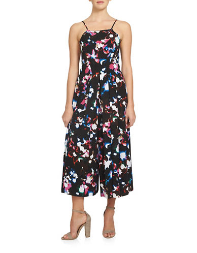 Image of 1 State Abstract Printed Pleated Jumpsuit-GREY-10