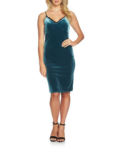 Cynthia Steffe Velvet Bodycon Dress-BLUE-4