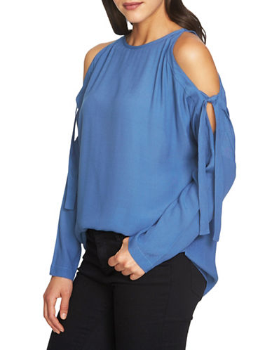 1 State Cold-Shoulder Blouse-BLUE-Medium