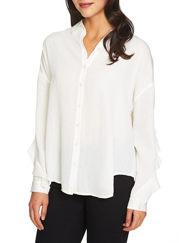 1 State Ruffle Sleeve Button-Down Shirt-WHITE-X-Small