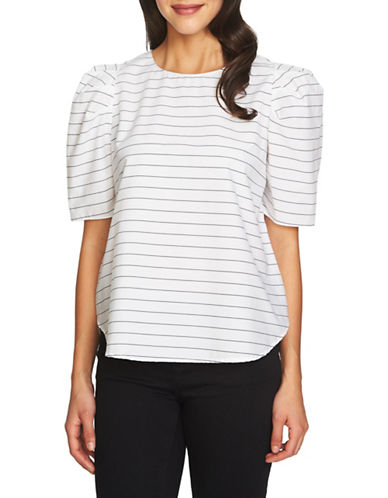 1 State Elbow-Length Puffed Sleeve Top-WHITE-Large
