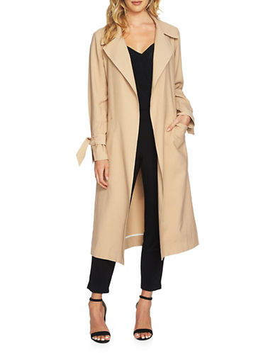 1 State Open Front Trench Coat-BROWN-X-Small