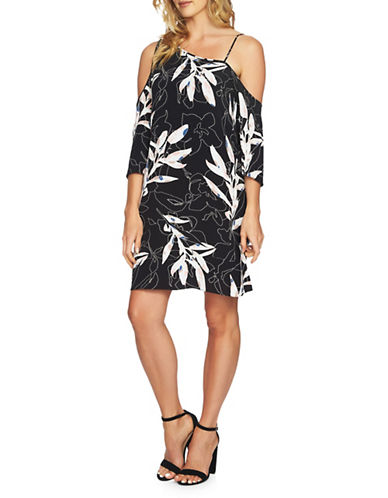 1 State Cold-Shoulder Flounce Dress-BLACK MULTI-Medium