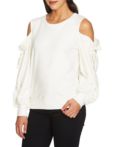 1 State Cold-Shoulder Sweater-WHITE-X-Small