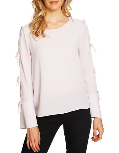 Cece Round Neck Crepe Blouse-PINK-X-Small