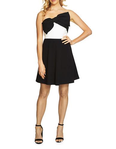 Cece Bow Scuba Dress-BLACK/WHITE-6