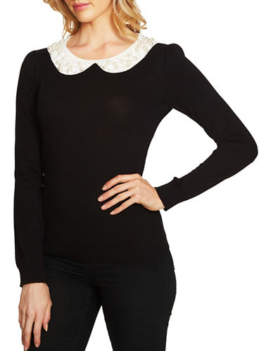 Cece Intarsia Faux Pearl Cotton Sweatshirt-BLACK-X-Small