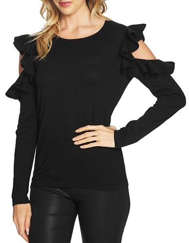 Cece Ruffled Cold-Shoulder Sweatshirt-BLACK-Small