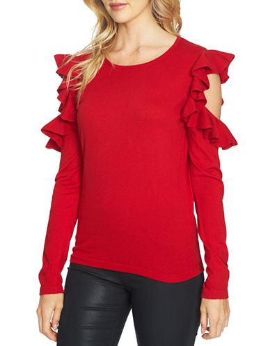 Cece Ruffled Cold-Shoulder Sweatshirt-RED-X-Small
