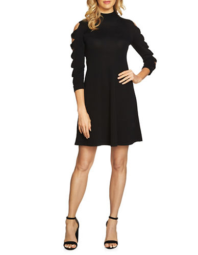 Cece Bow Sleeve Cotton Sweater Dress-BLACK-Large
