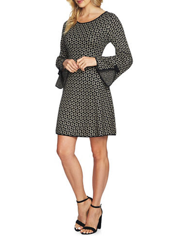 Cece Birds-Eye Sweater Dress-BLACK MULTI-Large