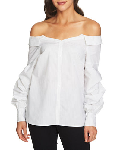 1 State Off-The-Shoulder Button-Down Shirt-WHITE-12