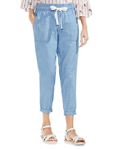 Vince Camuto Slim Drawstring Pull-On Cotton Pants-BLUE-Medium 90079757_BLUE_Medium