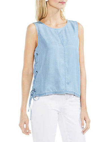 Vince Camuto Sleeveless Lace-Up Tank Top-BLUE-X-Large 90079744_BLUE_X-Large