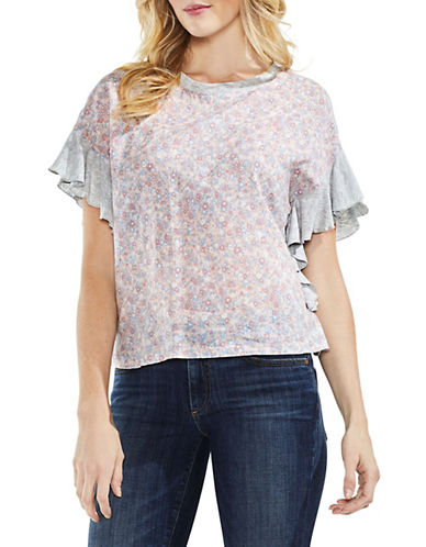 Vince Camuto Drop-Shoulder Ruffle-Sleeve Whisper Ditsy Top-PINK-Small 90079781_PINK_Small