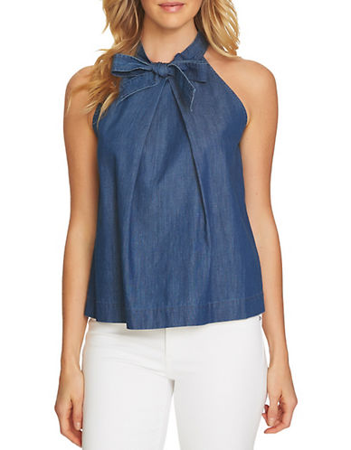 Cece Bow Sleeveless Denim Top-BLUE-Small 90079462_BLUE_Small