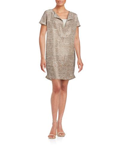 Antonelli Printed Silk Shift Dress-GOLD-EUR 48/US 12