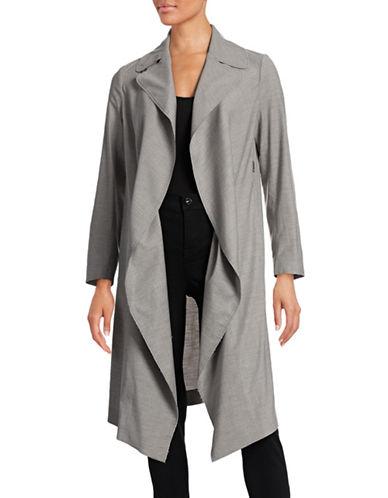 Antonelli Ligabue Open Trench Coat-GREY-EUR 48/US 12 plus size,  plus size fashion plus size appare