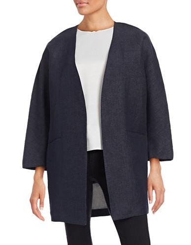 Antonelli Dali Linen-Blend Denim Kimono Topper-NAVY-EUR 48/US 12