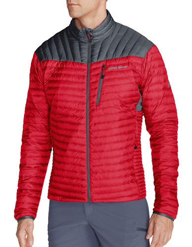 Eddie Bauer MicroTherm StormDown Jacket-RED-Large