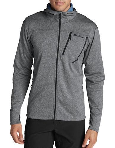 Eddie Bauer High Route Fleece Hooded Jacket-GREY-X-Large