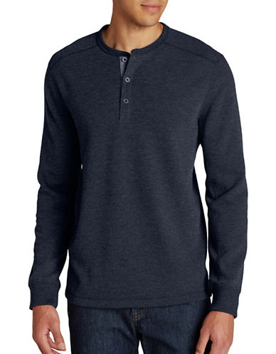 Eddie Bauer Eddies Favorite Thermal Henley-BLUE-Small