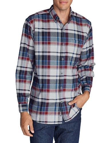 Eddie Bauer Plaid Cotton Flannel Sportshirt-WHITE-Medium