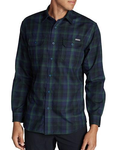 Eddie Bauer Expedition Plaid Flannel Sport Shirt-BLACK-Small