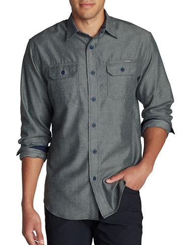 Eddie Bauer Expedition Flannel Sport Shirt-GREY-Medium