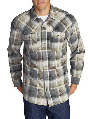 Eddie Bauer Chutes Microfleece Sport Shirt-GREY-Medium