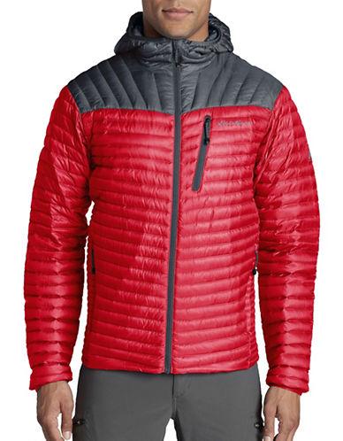 Eddie Bauer MicroTherm StormDown Hooded Jacket-RED-X-Large