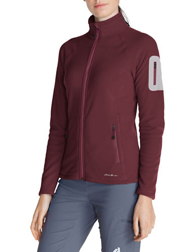 Eddie Bauer Micro Velour Fleece Jacket-DARK BERRY-X-Small