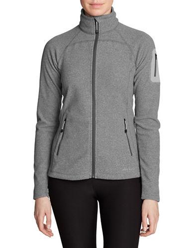 Eddie Bauer Micro Velour Fleece Jacket-GREY-Medium