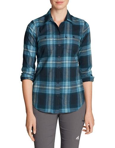 Eddie Bauer Flannel Button-Down Shirt-BLUE-Medium