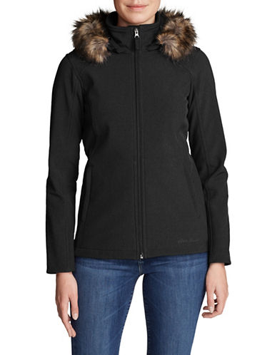 Eddie Bauer Faux Fur-Trimmed Hooded Jacket-BLACK-Medium