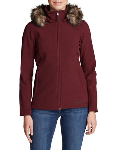 Eddie Bauer Faux Fur-Trimmed Hooded Jacket-DARK BERRY-X-Small
