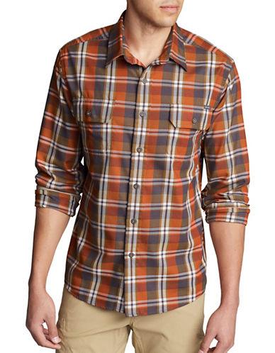 Eddie Bauer Expedition Flannel Sport Shirt-ORANGE-Small