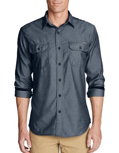 Eddie Bauer Expedition Flannel Sport Shirt-BLUE-Large