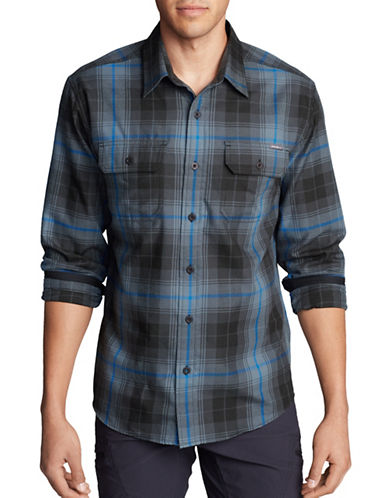 Eddie Bauer Expedition Flannel Sport Shirt-GREY-Large
