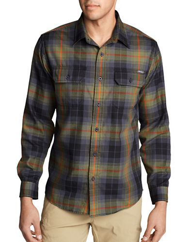 Eddie Bauer Expedition Plaid Flannel Sport Shirt-GREEN-Medium
