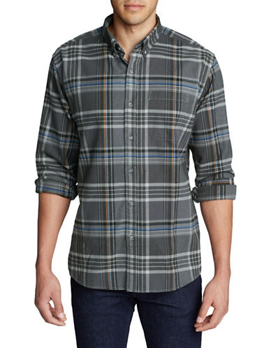 Eddie Bauer Plaid Cotton Flannel Sport Shirt-MULTI-COLOURED-Medium