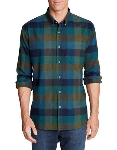 Eddie Bauer Plaid Cotton Flannel Sport Shirt-GREEN-Large