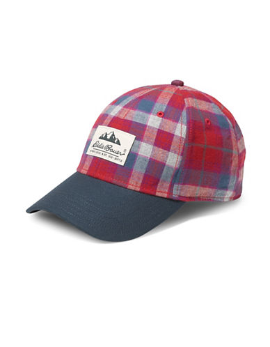 Eddie Bauer Plaid Cotton Baseball Cap-PURPLE-One Size