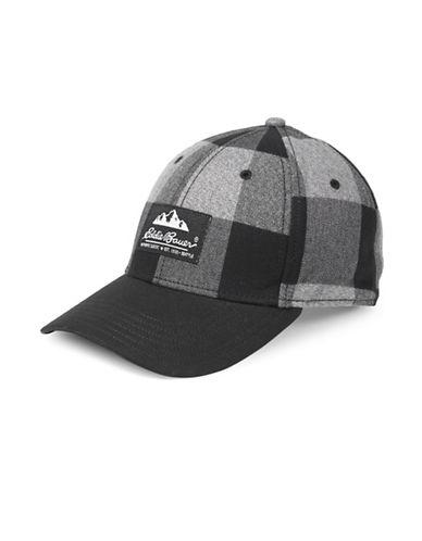 Eddie Bauer Plaid Cotton Baseball Cap-BLACK-One Size