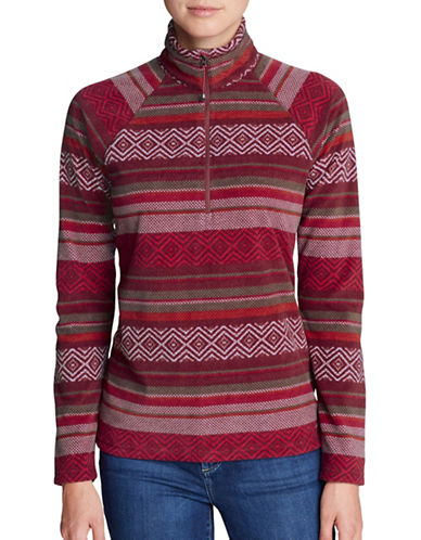 Eddie Bauer Printed Quarter-Zip Mock Neck Pullover-RED-Large