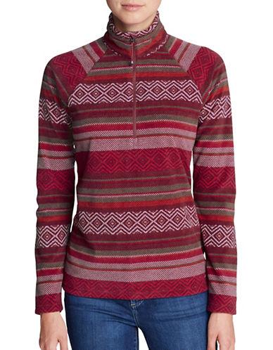Eddie Bauer Printed Quarter-Zip Mock Neck Pullover-RED-X-Small