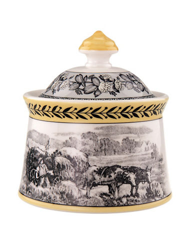 Villeroy & Boch Audun Ferme Covered Sugar-GREY AND GOLD-One Size
