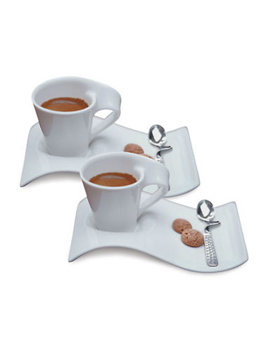 Villeroy & Boch Set of Two New Wave Espresso Cups and Saucers-WHITE-One Size