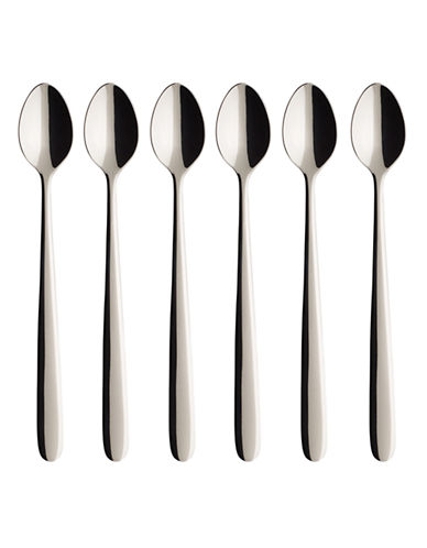 Villeroy & Boch S/6 Longdrink Spoon Gift Boxed-STAINLESS STEEL-One Size